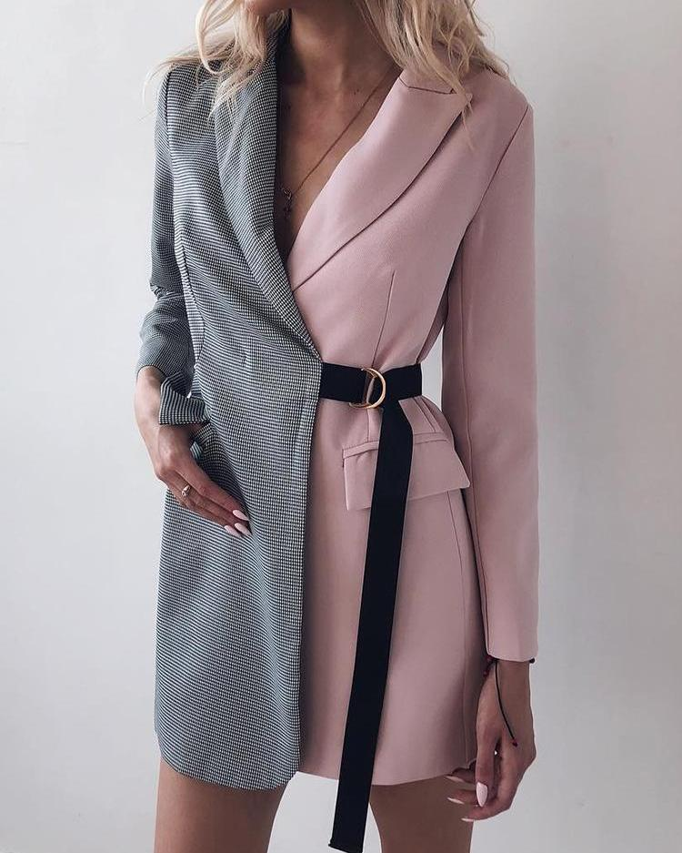 boutiquefeel / Houndstooth Imprimir dois tons Blazer vestido de trabalho