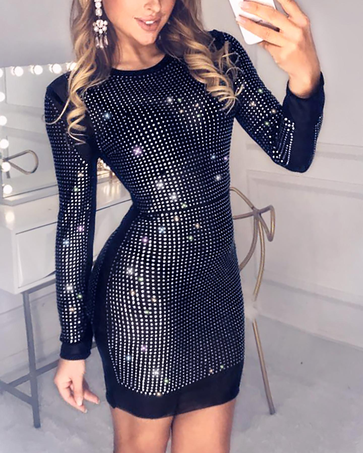 Hot Stamping Round Neck Long Sleeve Mesh Bodycon Dress фото
