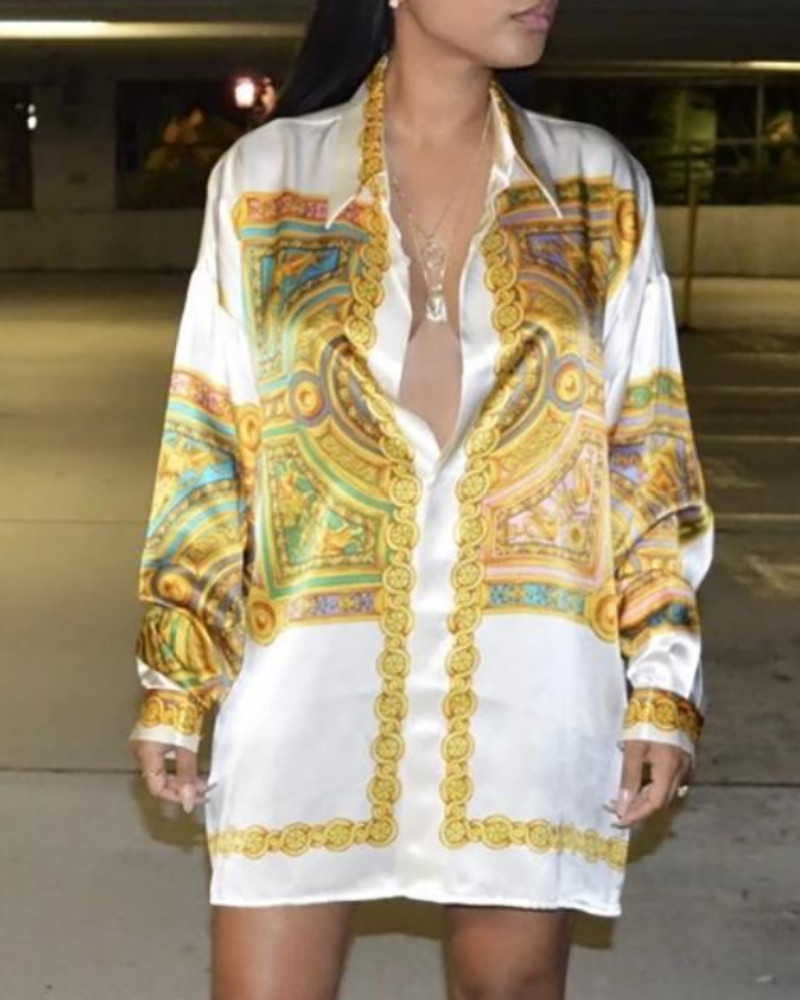 chicme / Scarf Print Long Sleeve Shirt Dress