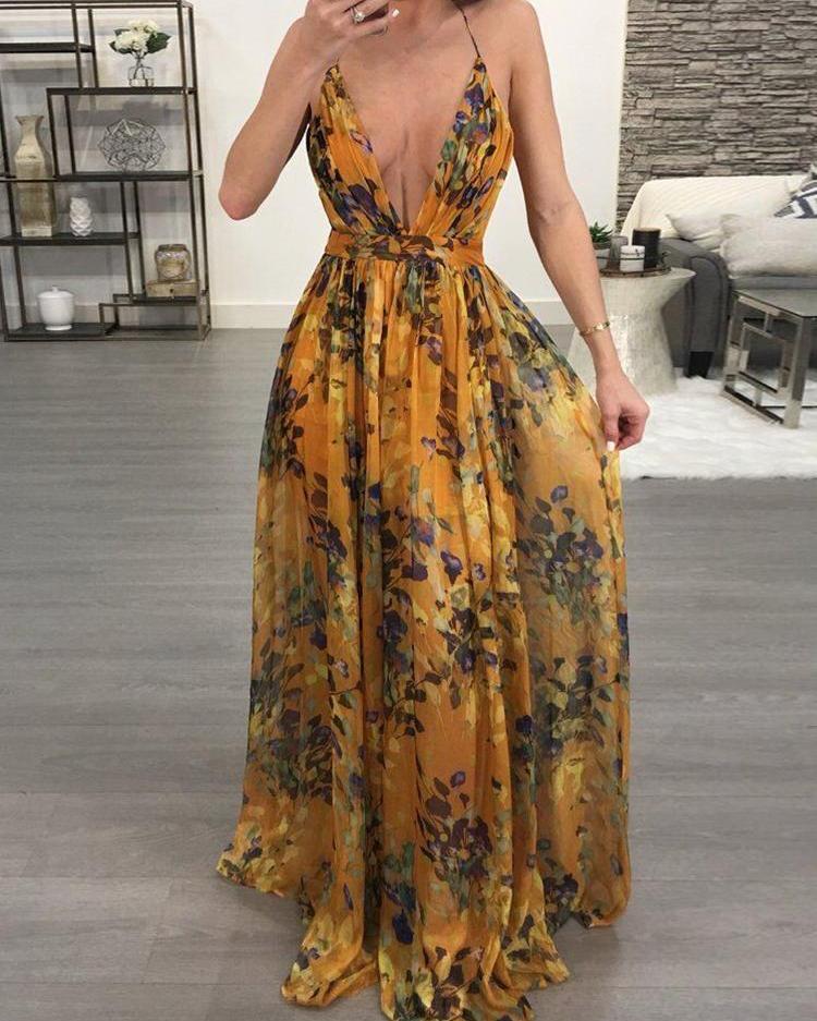 Floral Print Pleated Backless Slip Maxi Dress
