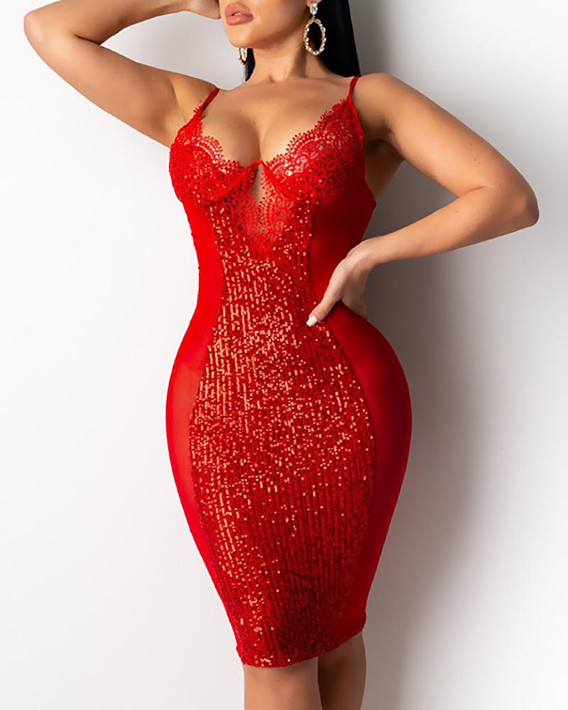 Spaghetti Strap Lace Sequins Dress фото
