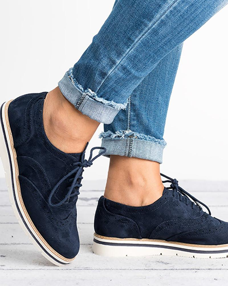 Plain Lace-Up Oxford Shoes фото
