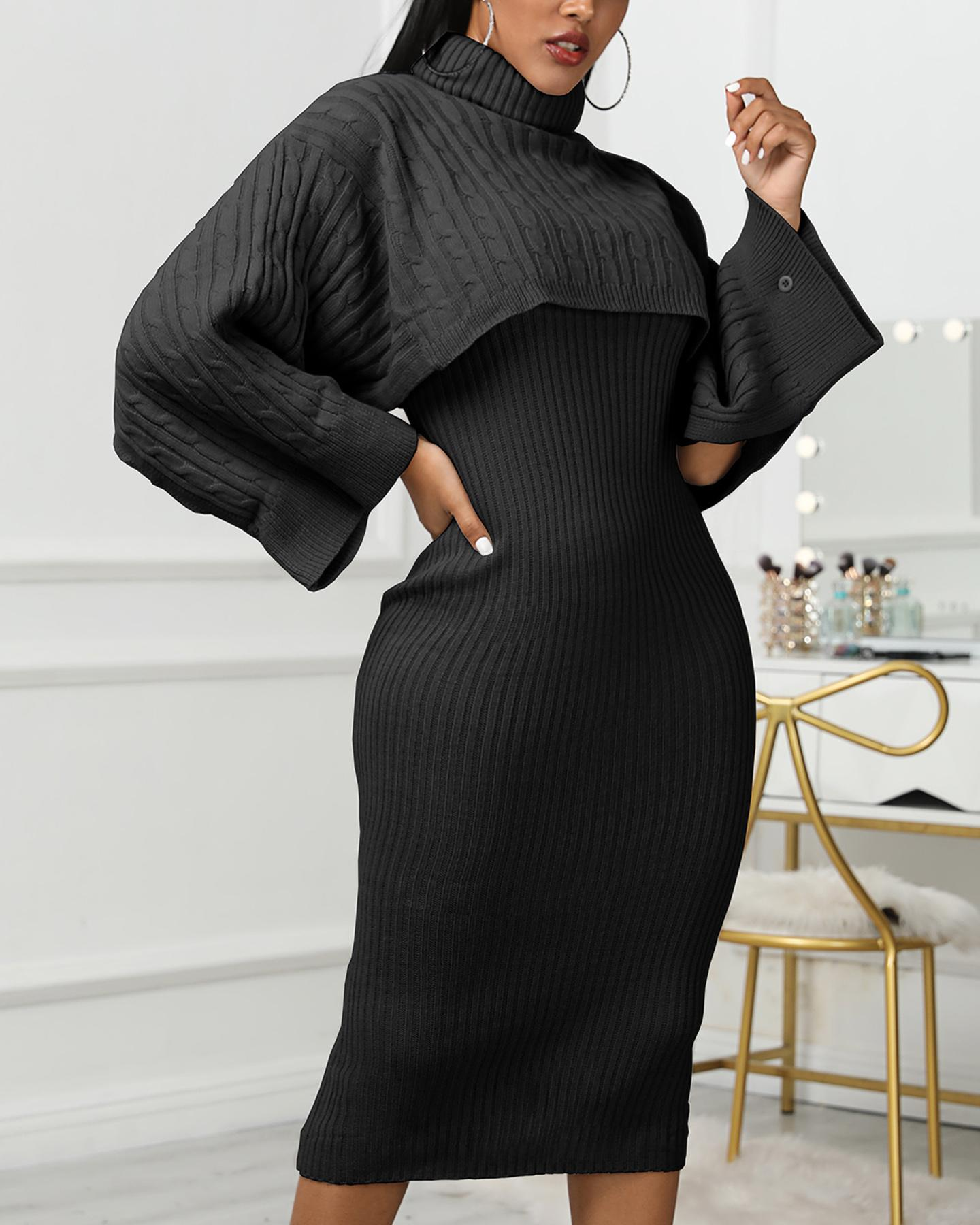 Solid High Neck Ribbed Sweater & Thin Strap Dress Sets фото