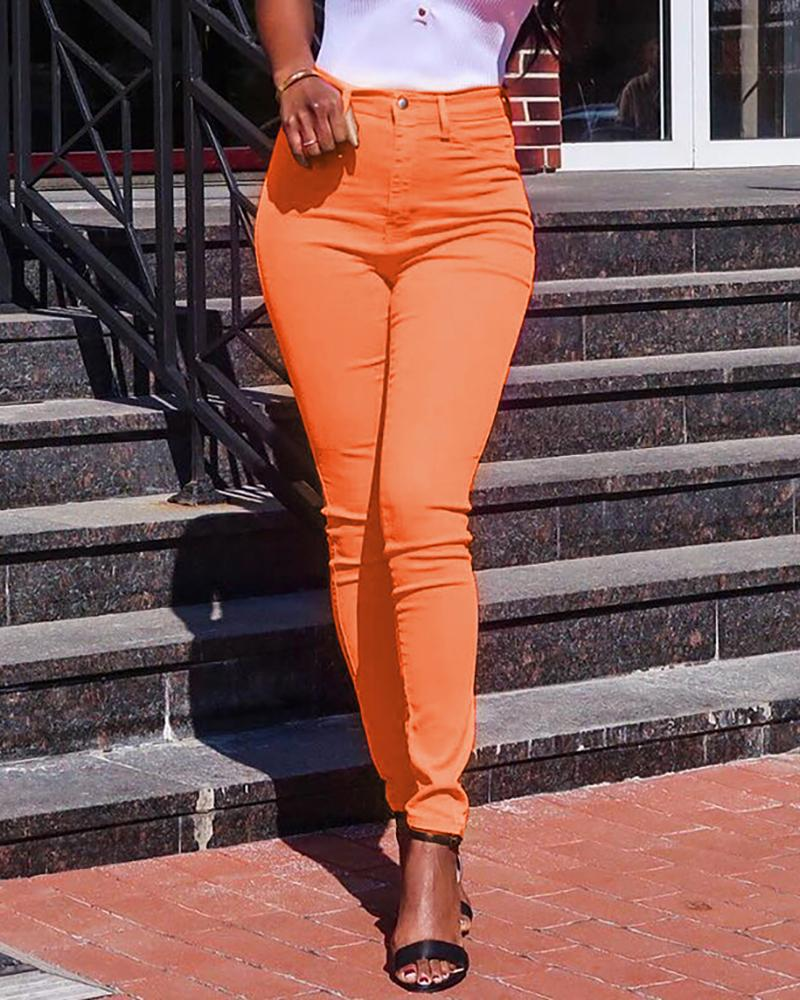 High Waist Skinny Solid Color Pants фото