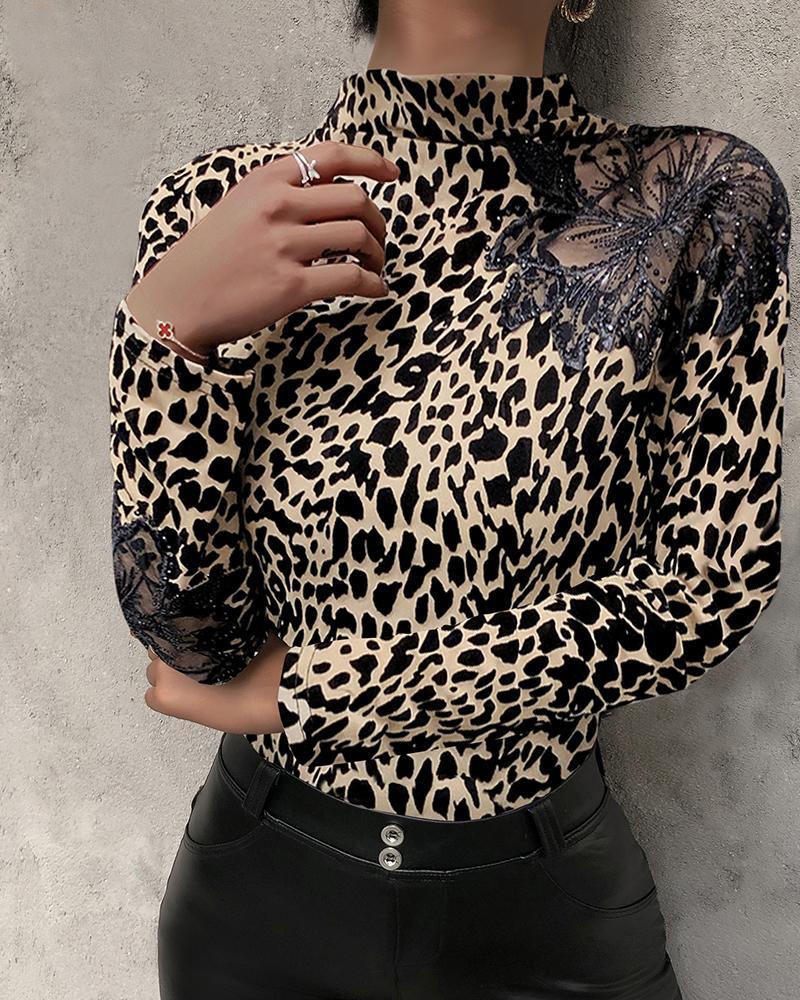 Studded Leopard Print Long Sleeve Top