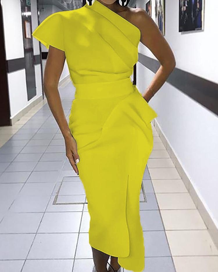 Image of One Shoulder Ruched Irregular Party Dress