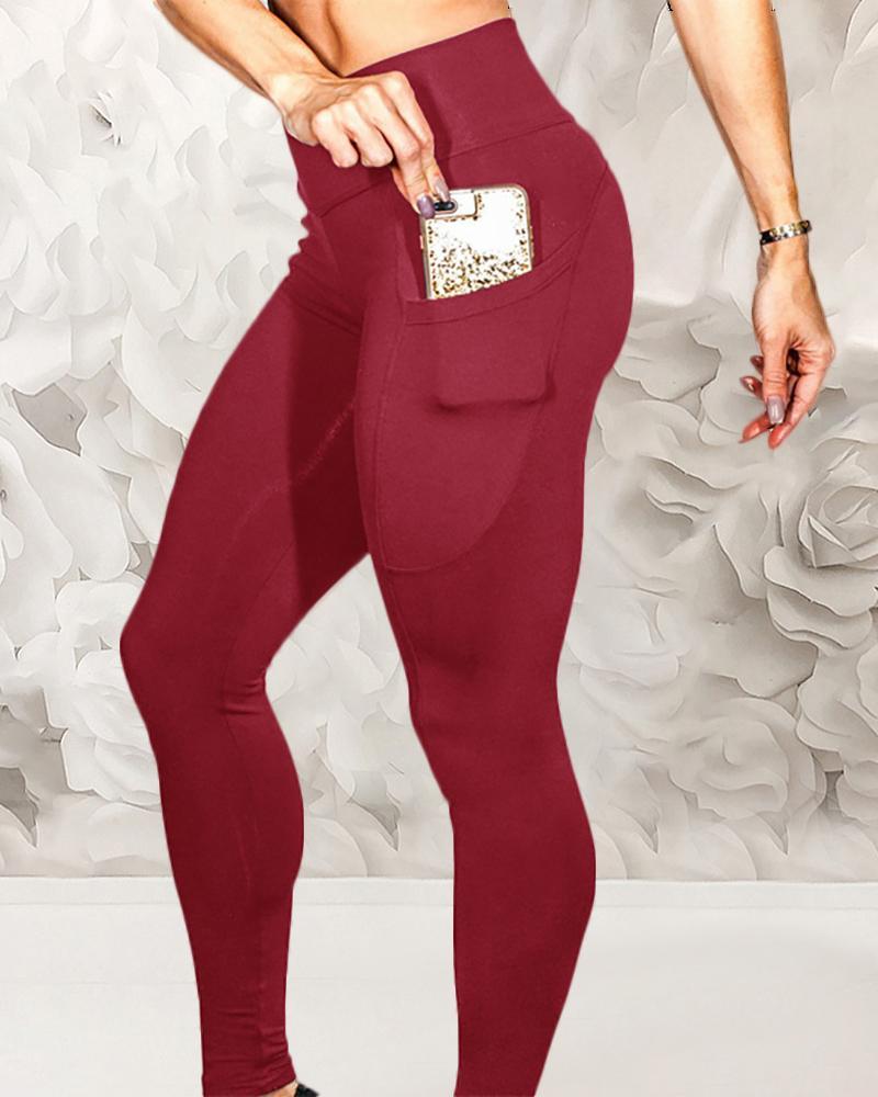 High Waist Butt Lift Pockets Sporty Pants фото