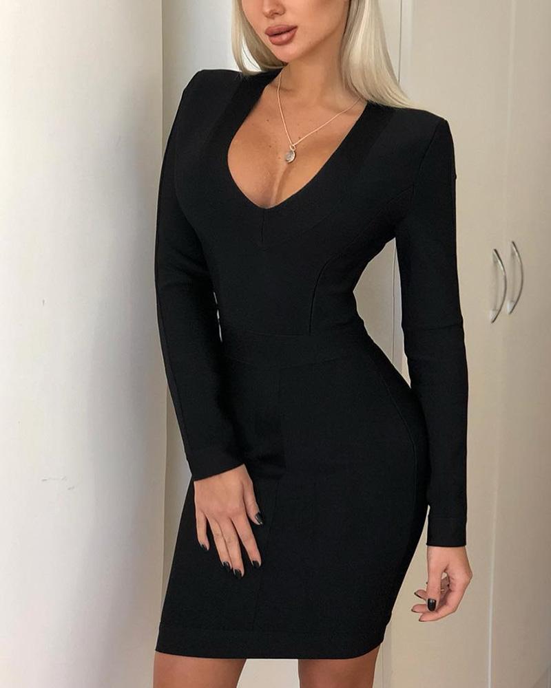 Long Sleeve V-Neck Bodycon Dress фото