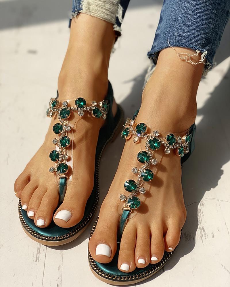 Studded Detail Toe Post Flat Sandals