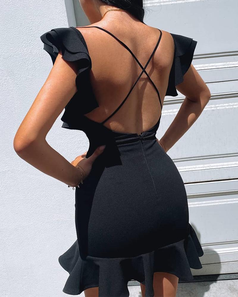 chicme / Vestido de volantes con cuello en V sin espalda