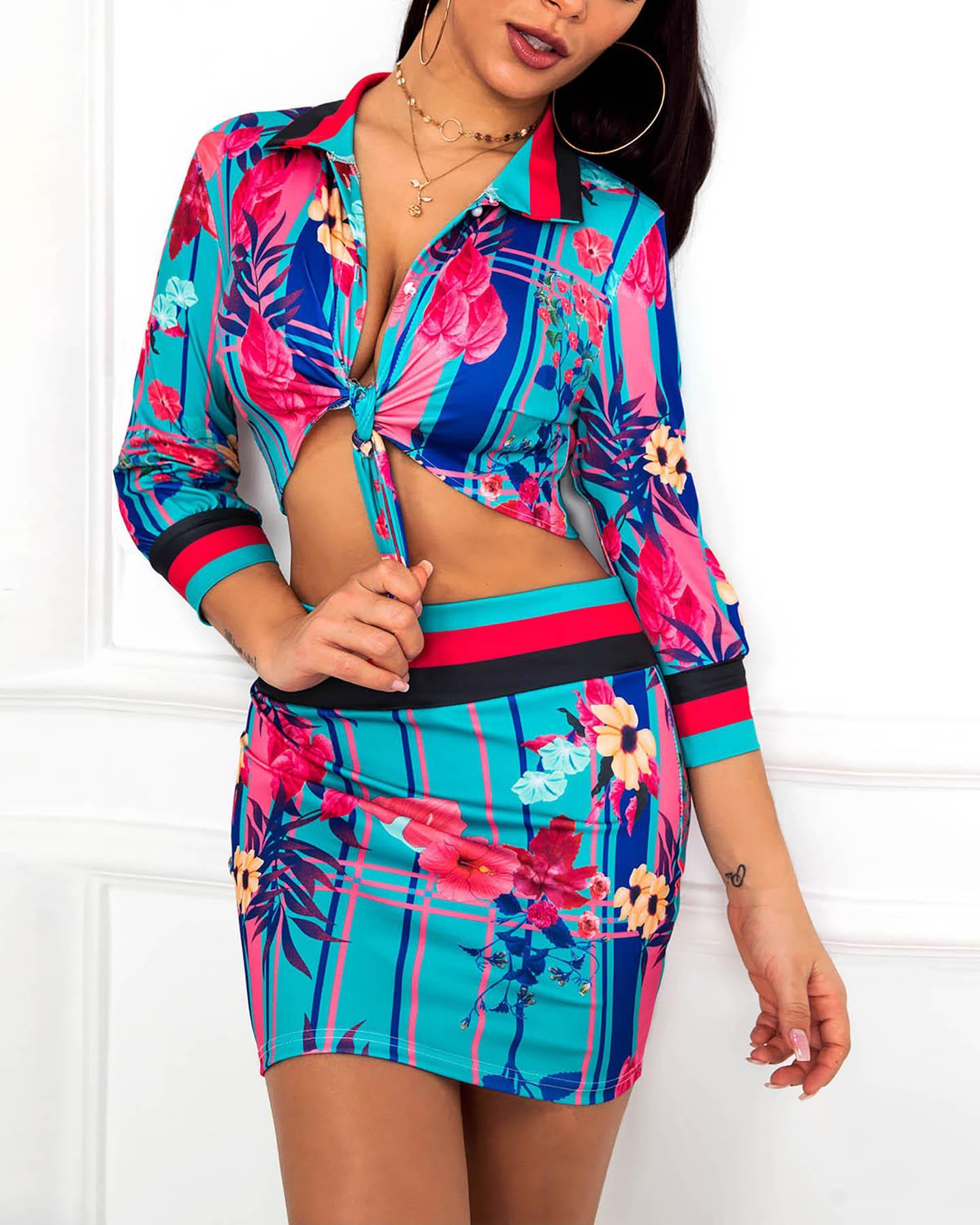 chicme / Floral Print Striped Insert Crop Top & Skirt Set