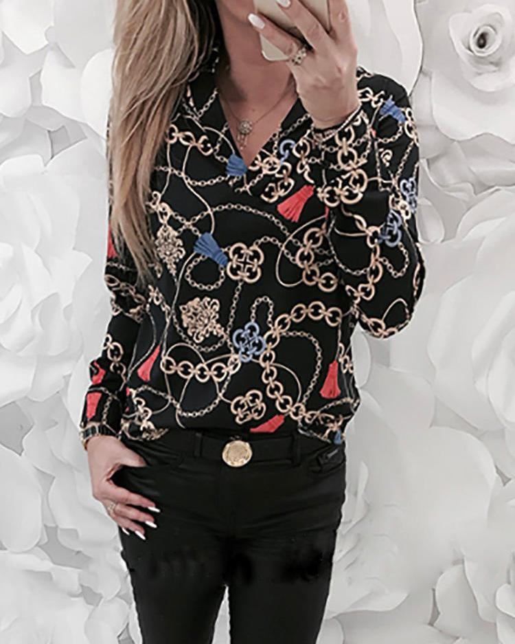 Mixed Chains Print Long Sleeve Blouse
