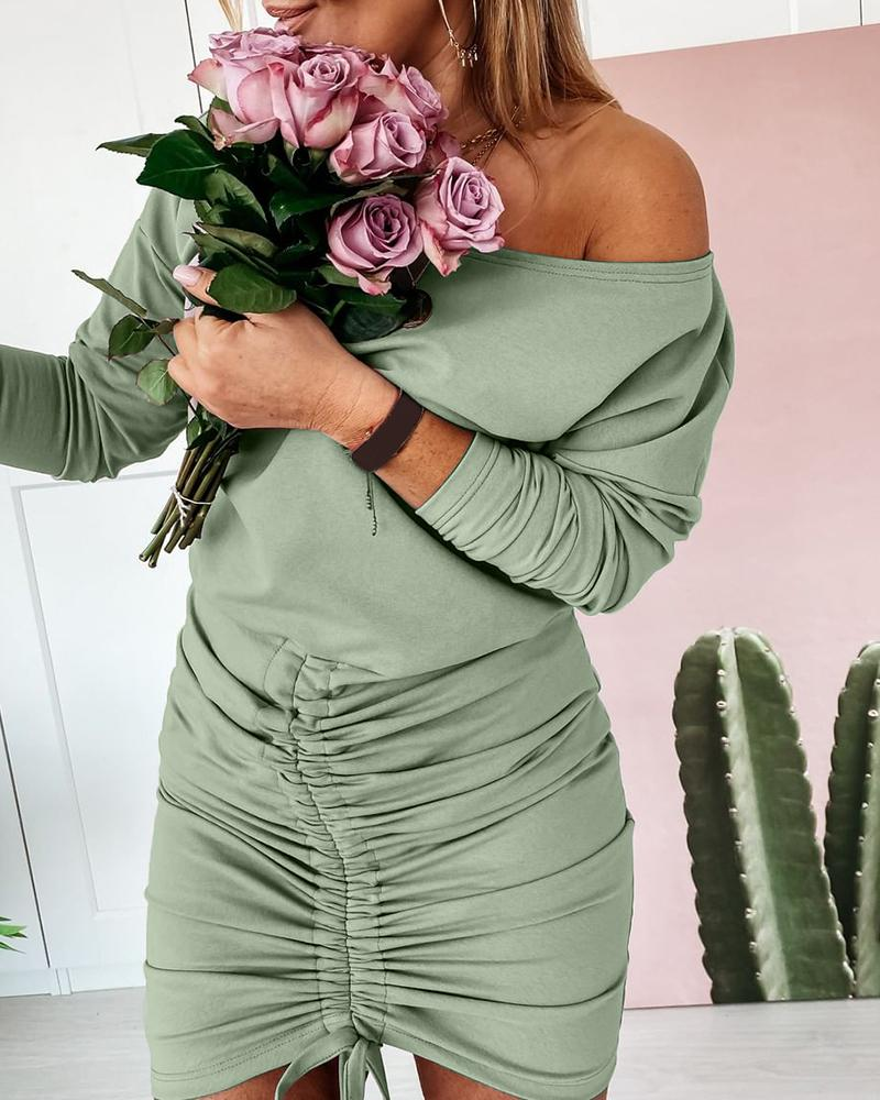 chicme / Solid Long Sleeve Drawstring Ruched Dress