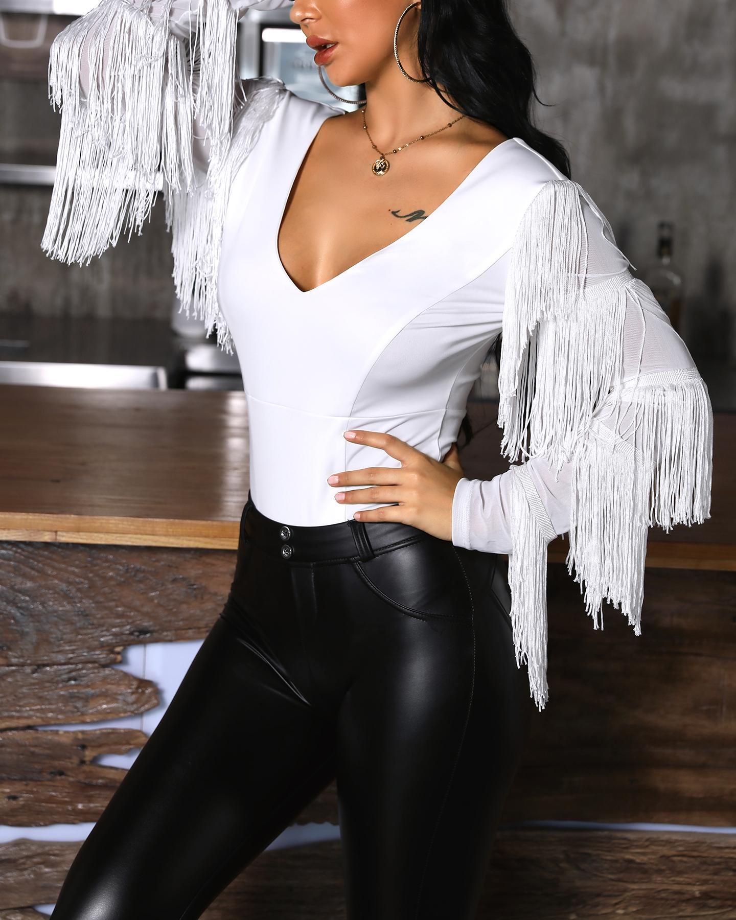 V-Neck Tassel Long Sleeve Bodysuit