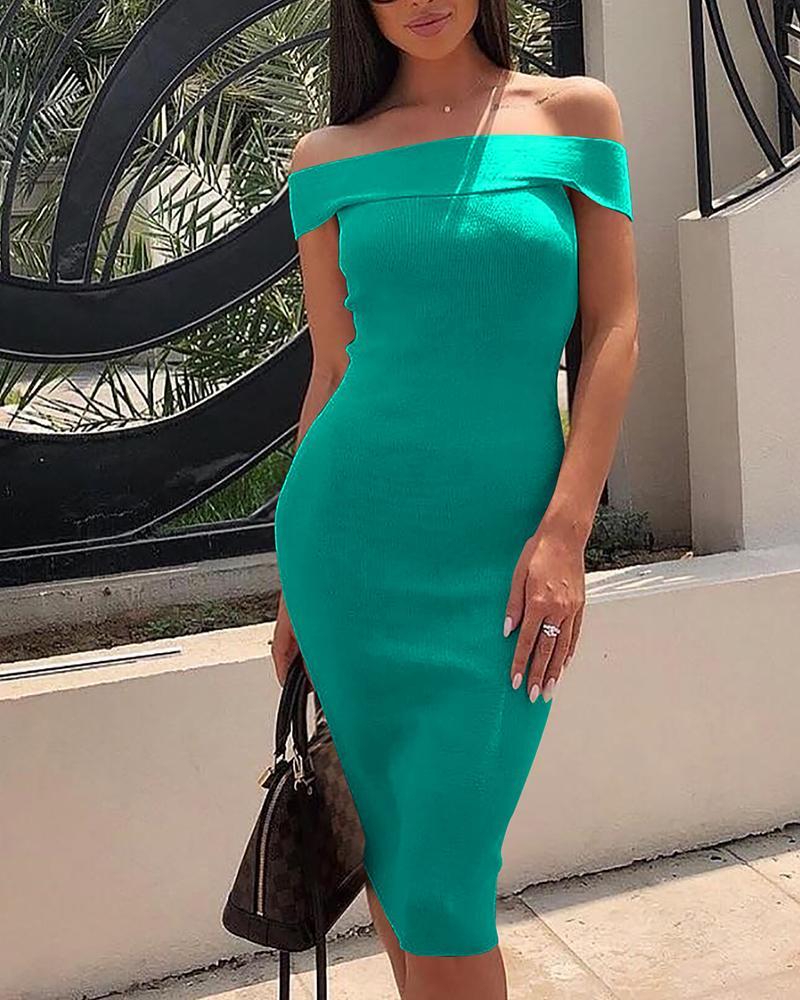 Fold Over Off Shoulder Midi Dress фото