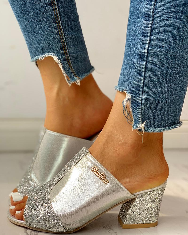 Glitter Peep Toe Slingback Chunky Heeled Sandals фото
