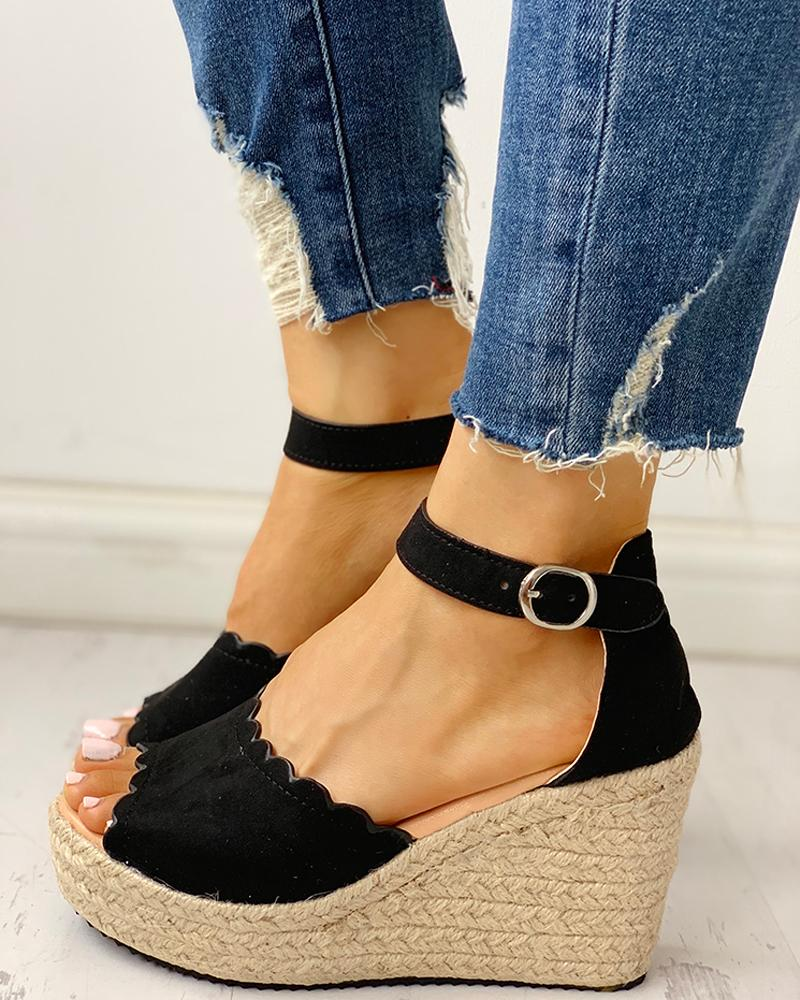 chicme / Peep Toe Espadrille Platform Wedge Sandals