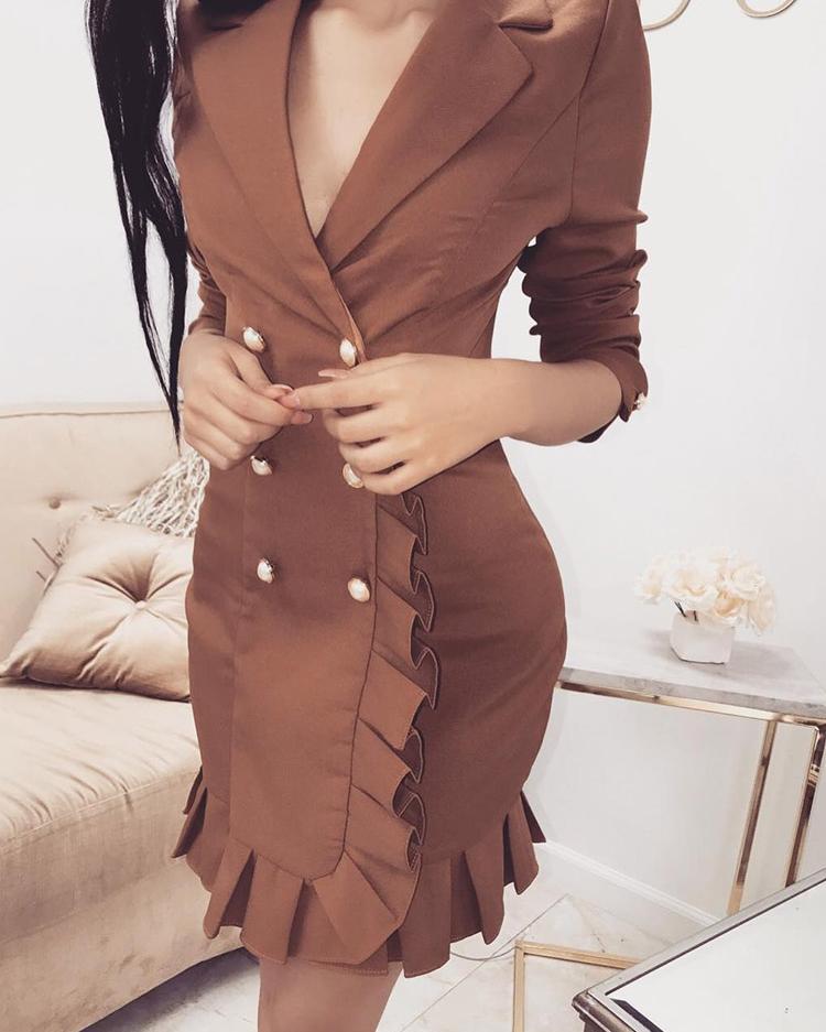 Double-Breasted Ruffle Trim Blazer Dress