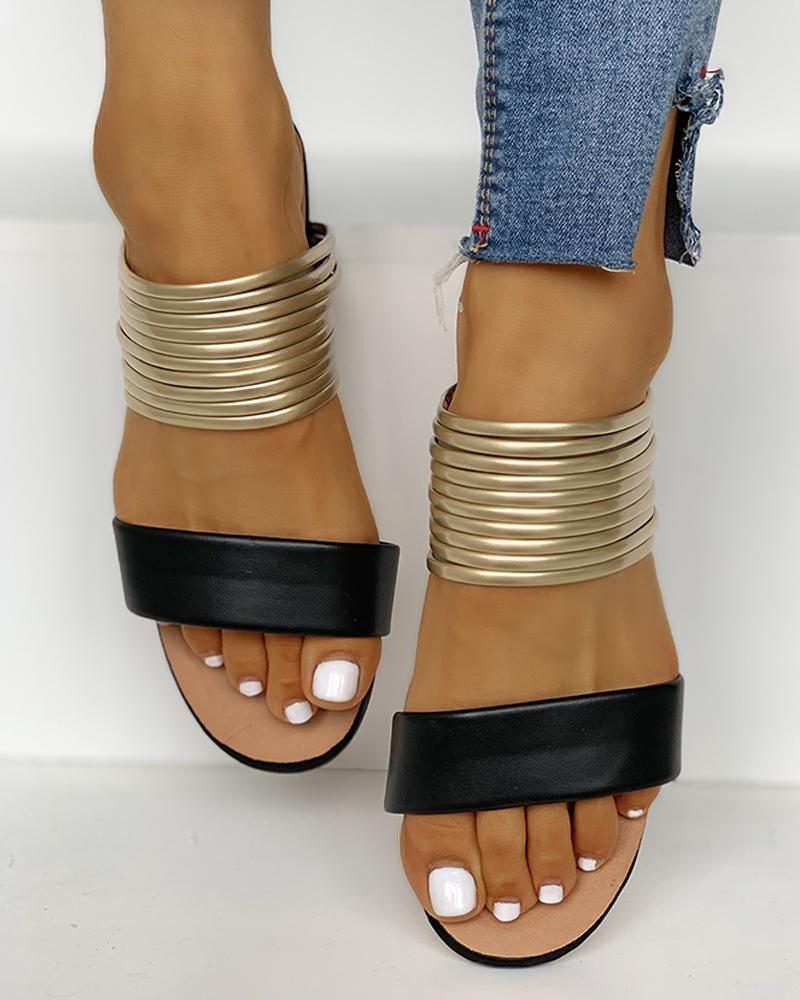 Open Toe Multi- Strap Slipper Sandals фото