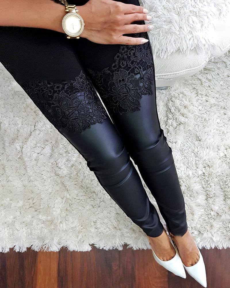 Floral Applique Coated PU Insert Pants фото