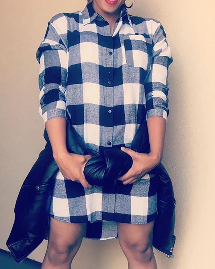 Plaid Print Chest Pocket Shirt Dress