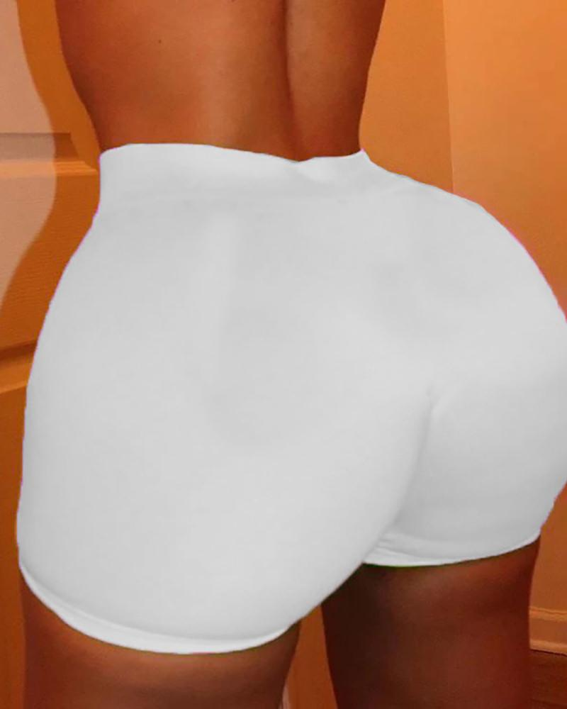 Solid High Waist Fitted Casual Shorts фото