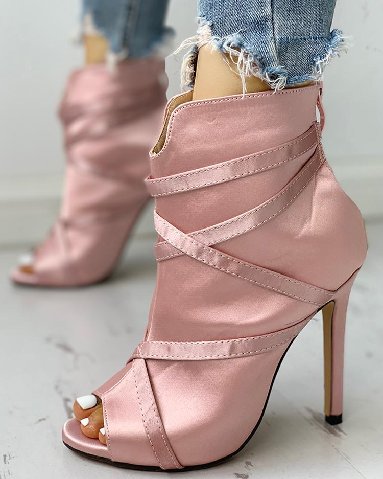 Peep Toe Bandage Crisscross Thin Heeled Boots