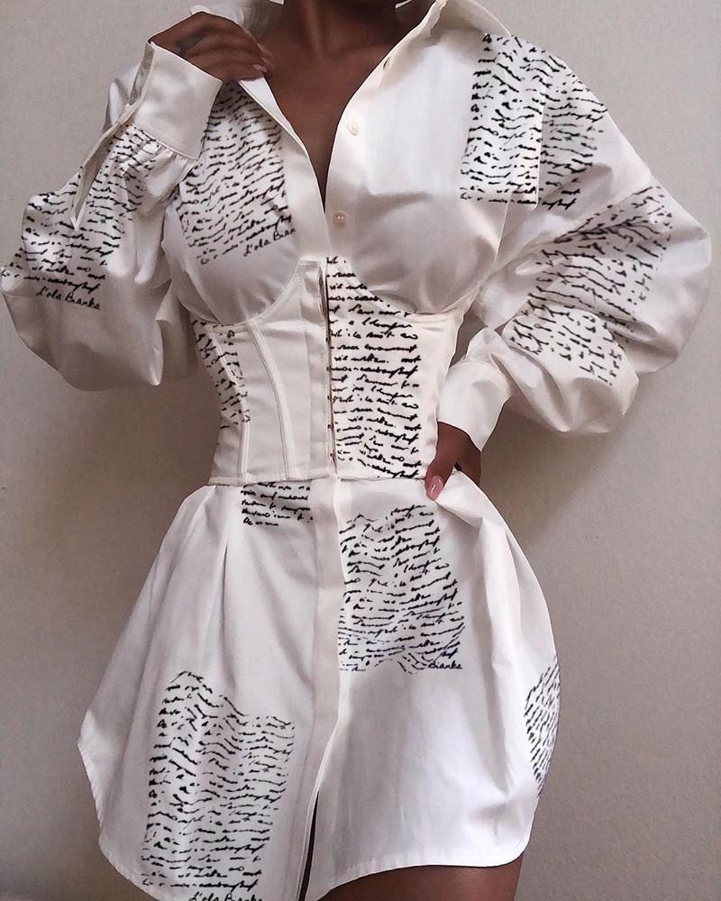 boutiquefeel / Turn-down Collar Letter Imprimir vestido camisa abotoada