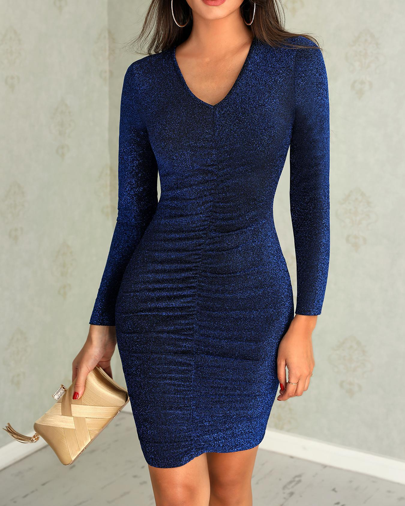Shiny Scrunched Deep V Bodycon Dress фото