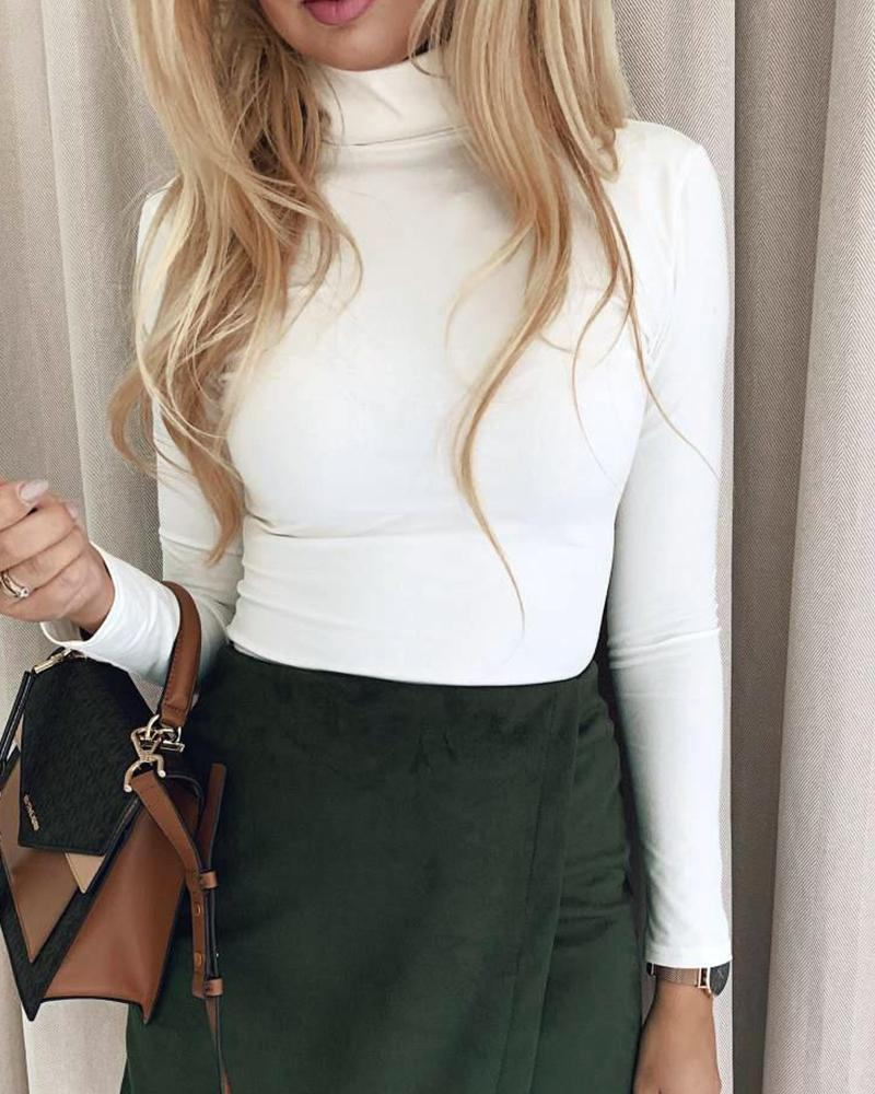 joyshoetique / Solid Color Bodycon Mini Skirt