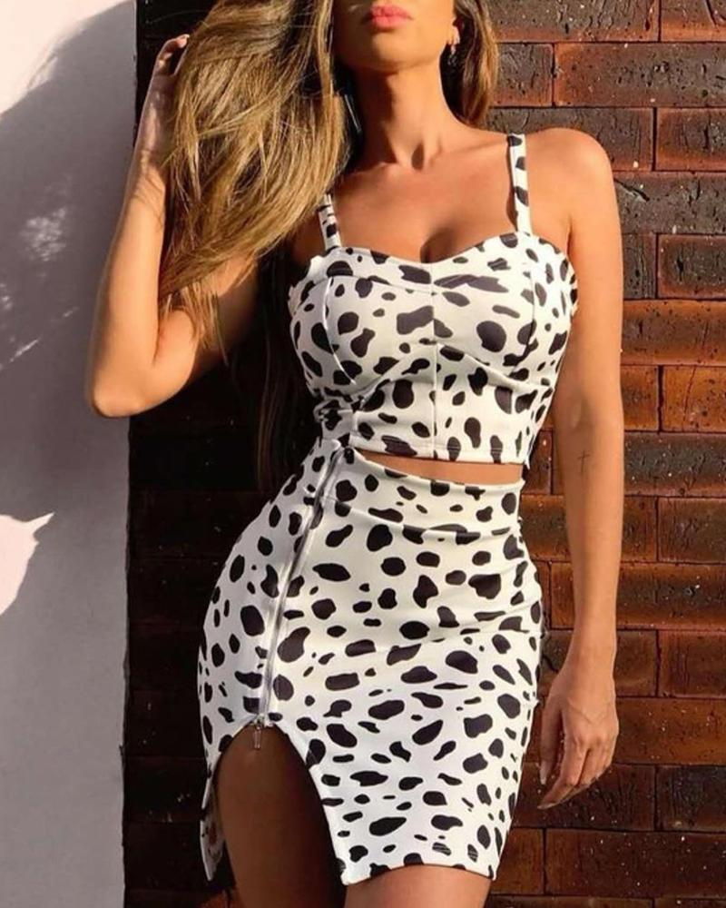boutiquefeel / Leopardo Imprimir Cami Top & Zipper Slit Set Saia