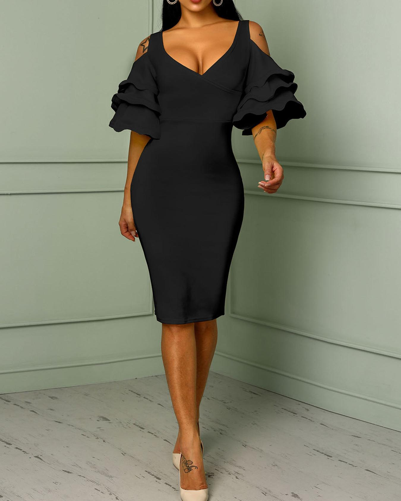Solid Frilled Cold Shoulder Wrap Midi Dress