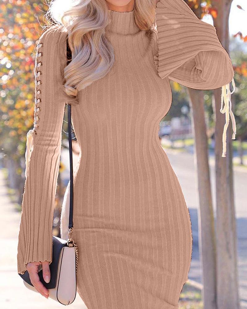 ivrose / Eyelet Detail Bodycon Rib Dress