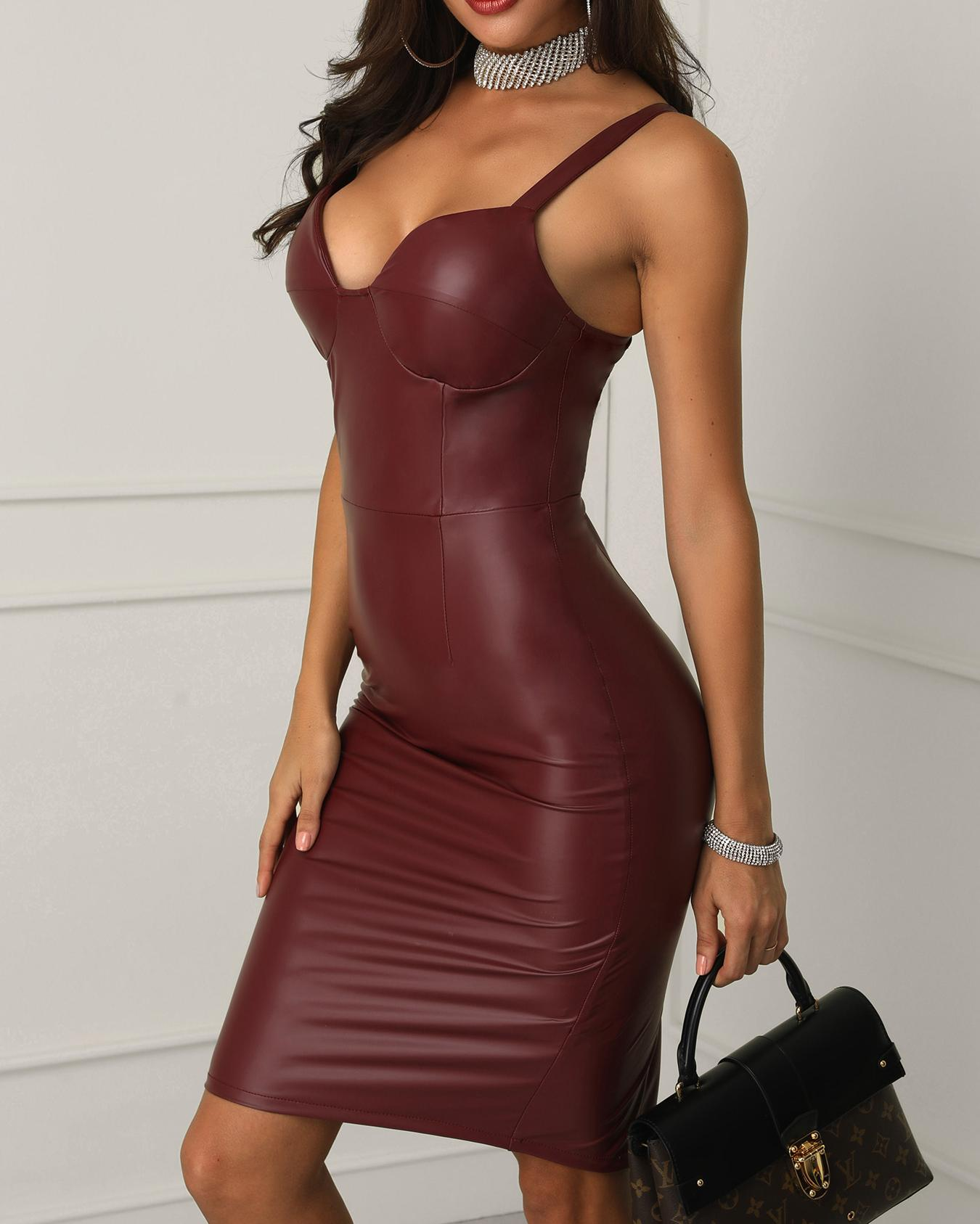 PU Slit Back Spaghetti Strap Bodycon Dress фото
