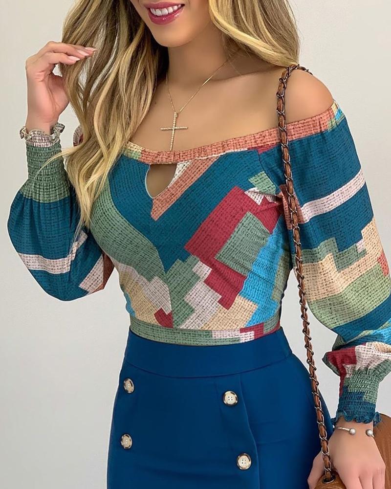 boutiquefeel / Fora do ombro recorte frontal Colorblock Top