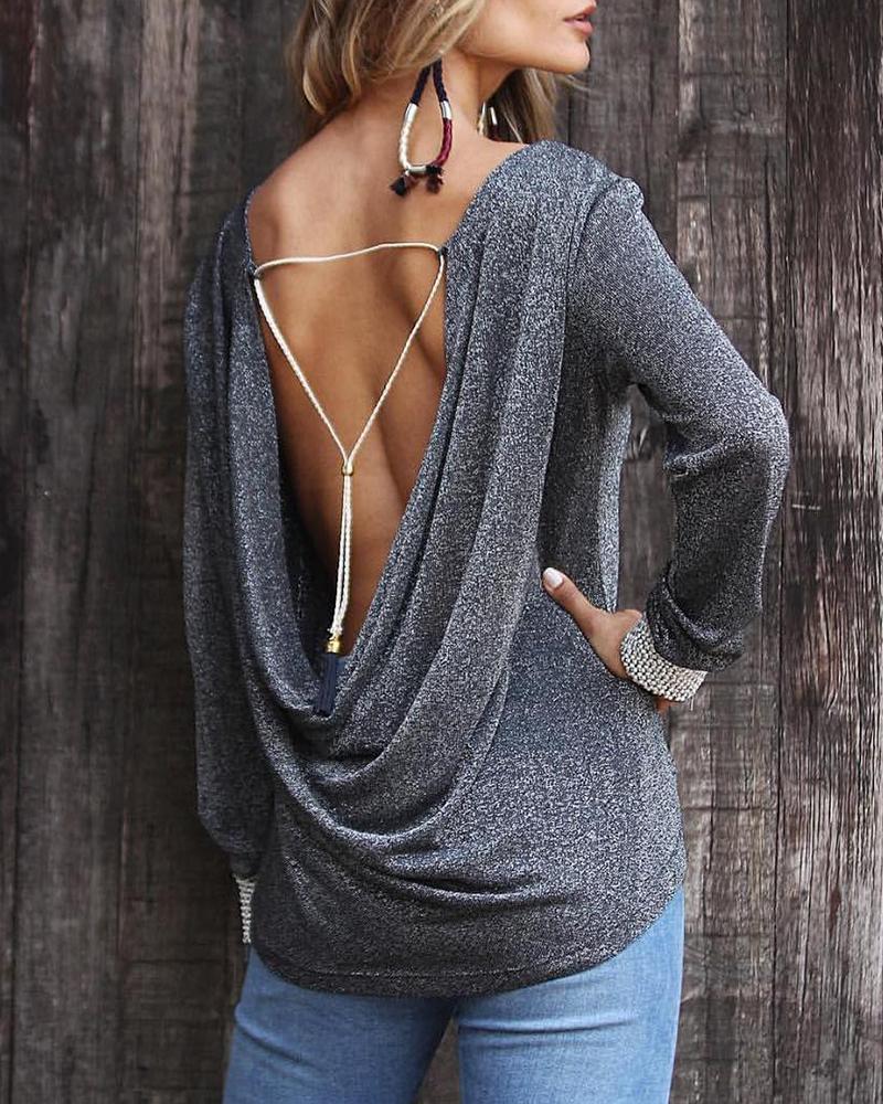 chicme / Blusa de purpurina con cuello abierto y espalda abierta