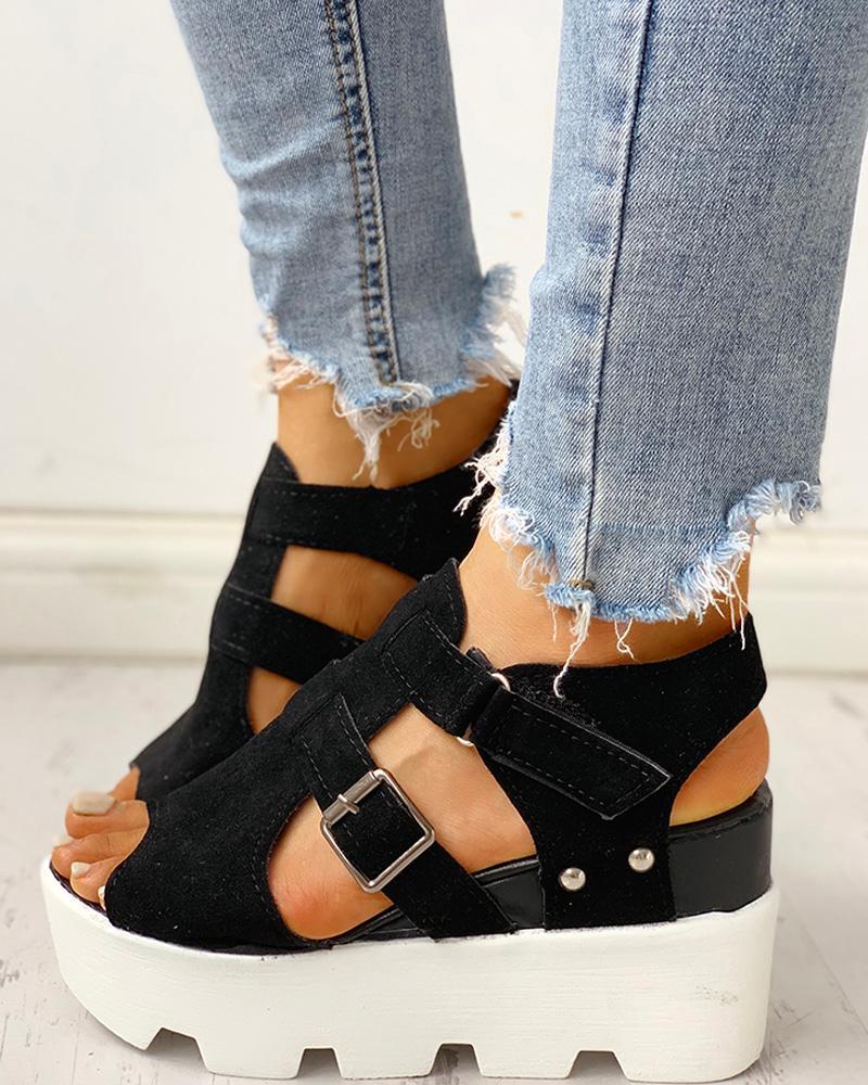 Cutout Velcro Platform Wedge Sandals фото