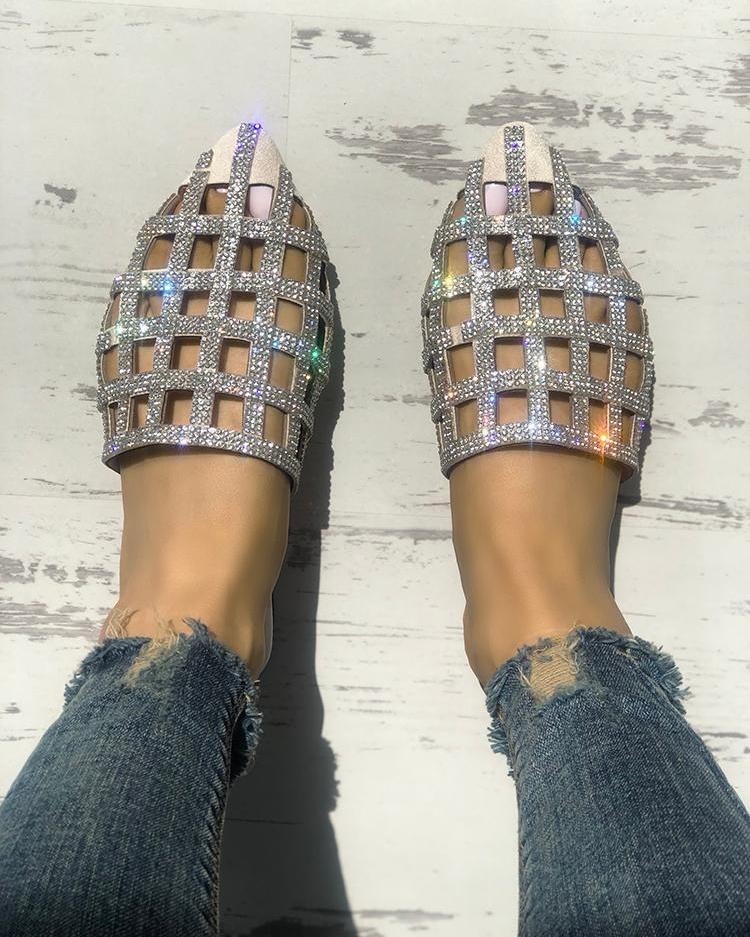 joyshoetique / Glittering Hollow Out Pointed Toe Flat Sandals