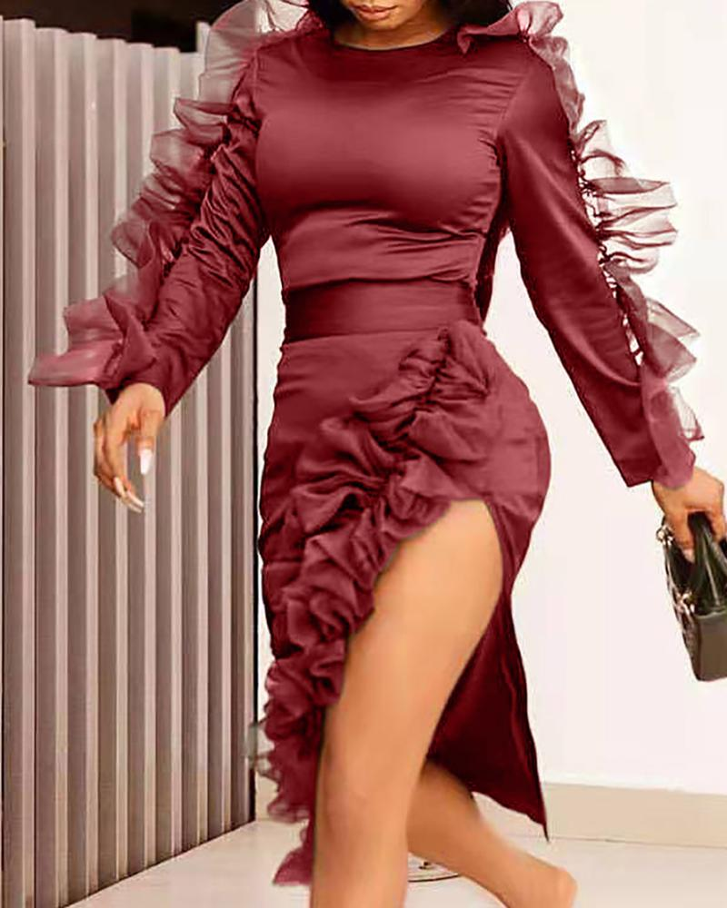Solid Round Neck Frill Mesh Insert Slit Bodycon Dress, Wine red
