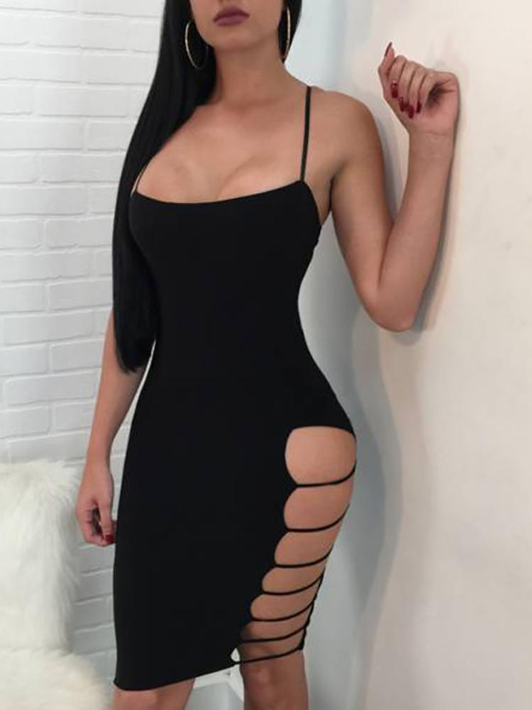Ladder Cutout Side Solid Mini Slip Dress