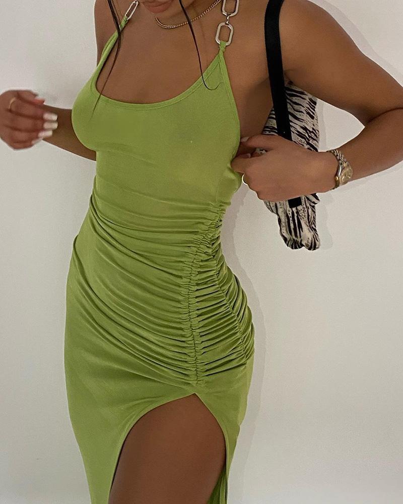 Halter Chain Strap Backless Drawstring Dress фото
