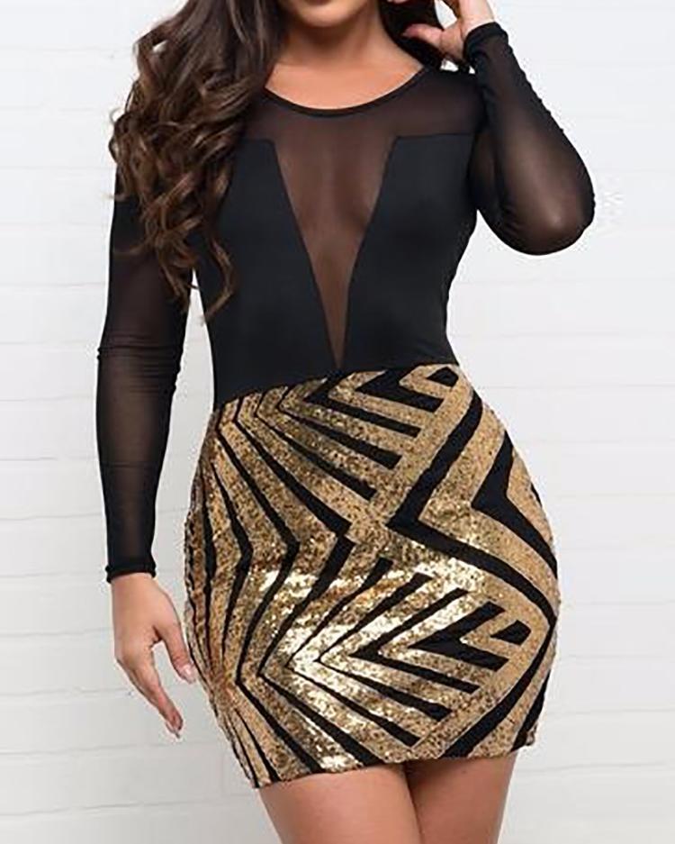 Sheer Mesh Splicing Chevron Stripes Sequin Dress фото
