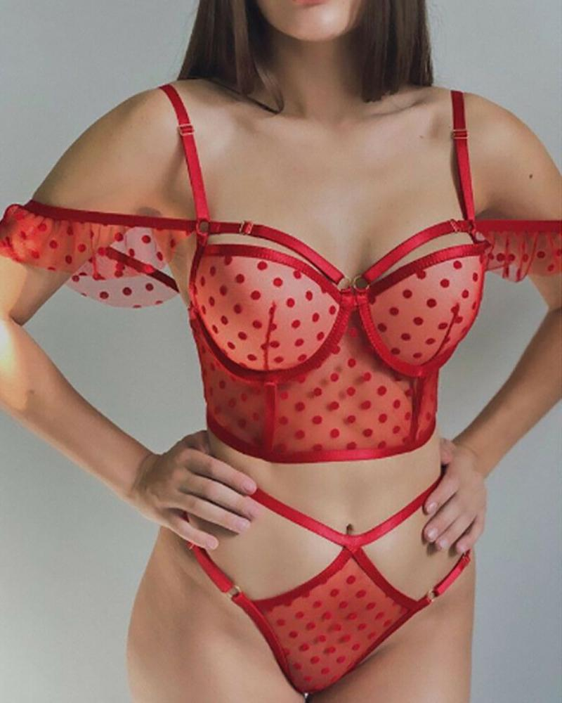 ivrose / Sheer Mesh Polka Dot Cutout Bra Set
