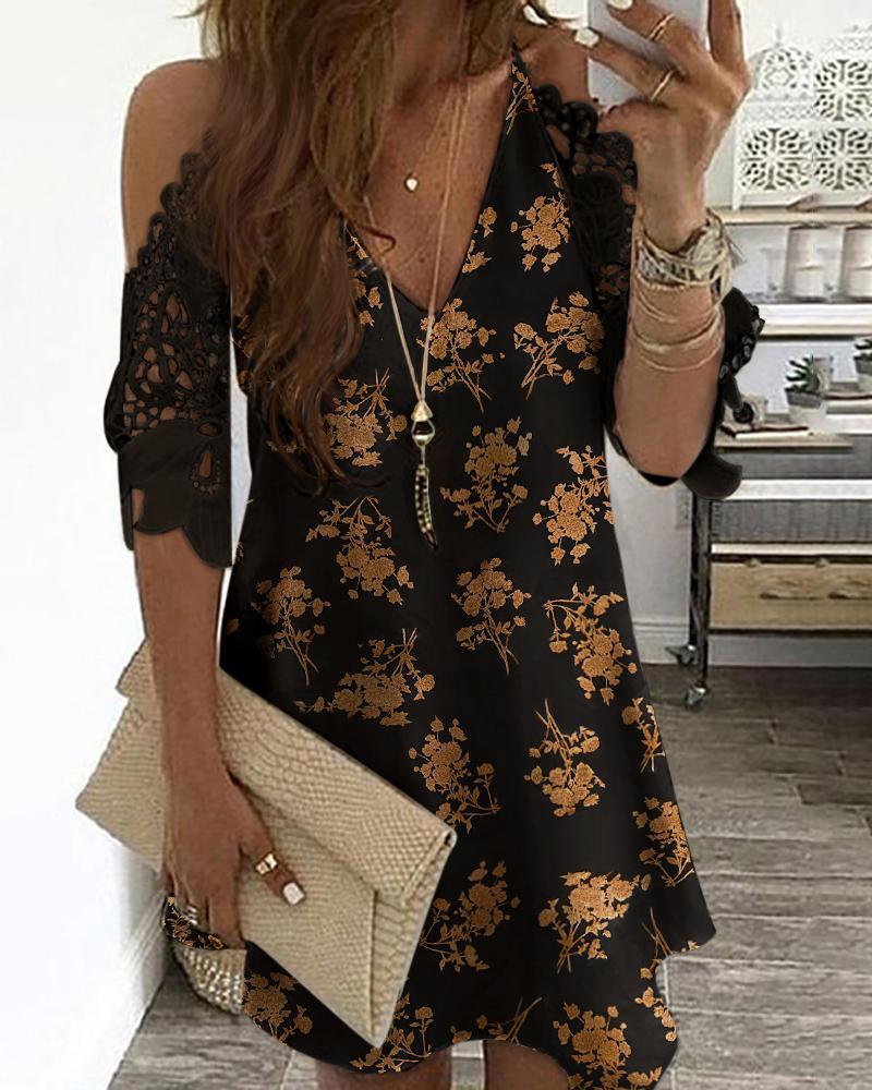 ivrose / Floral Print Cold Shoulder Crochet Lace Dress