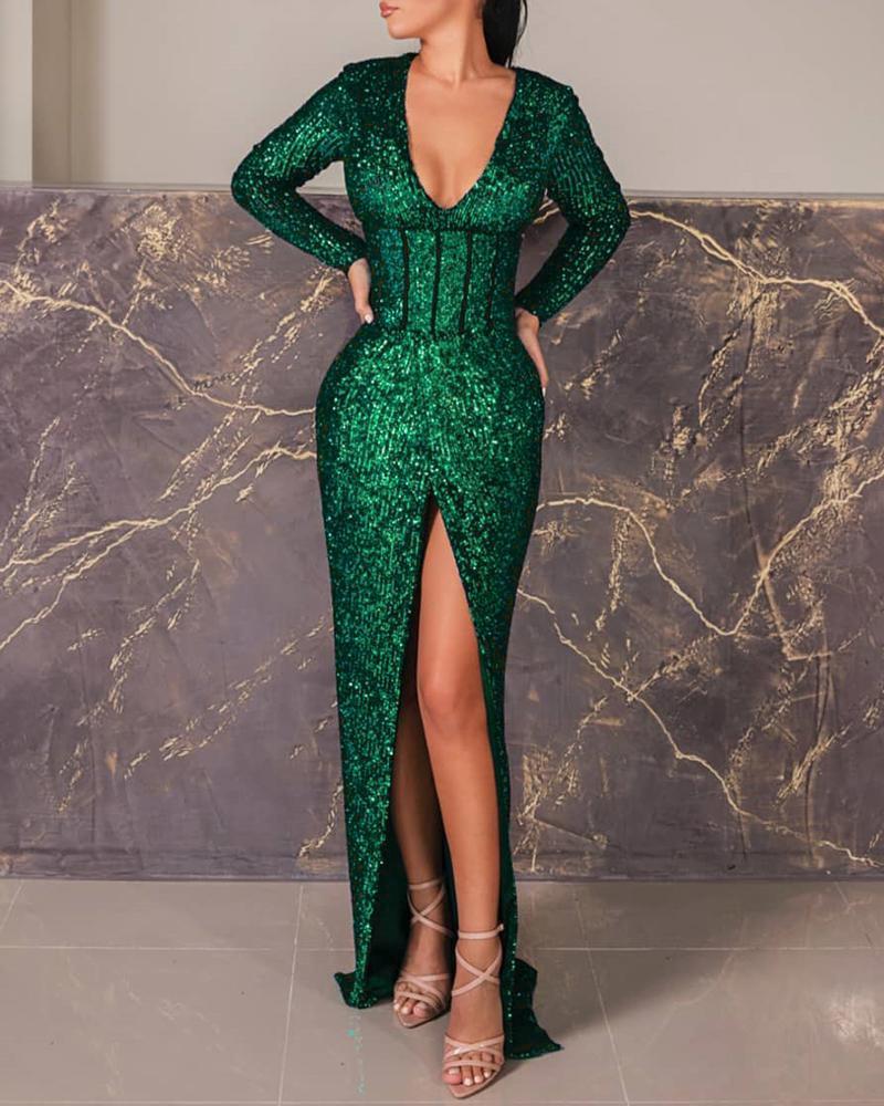joyshoetique / Sequins Tight Waist High Slit Dress