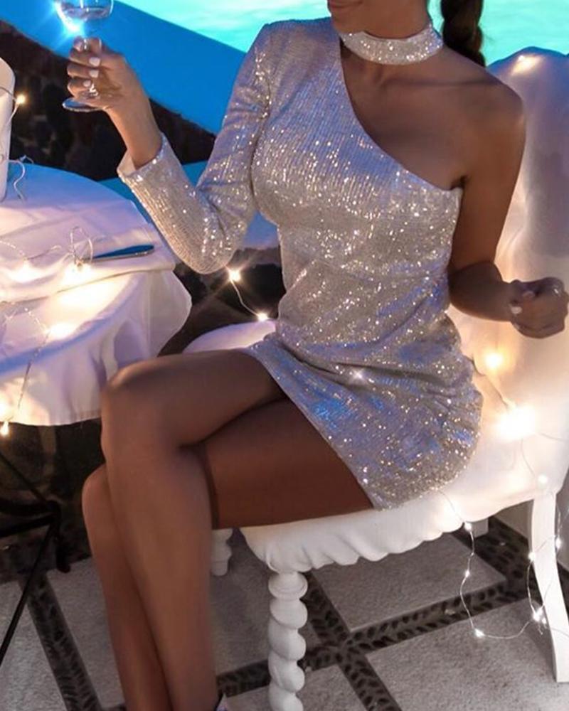 chicme / Um ombro Halter Mini vestido de lantejoulas