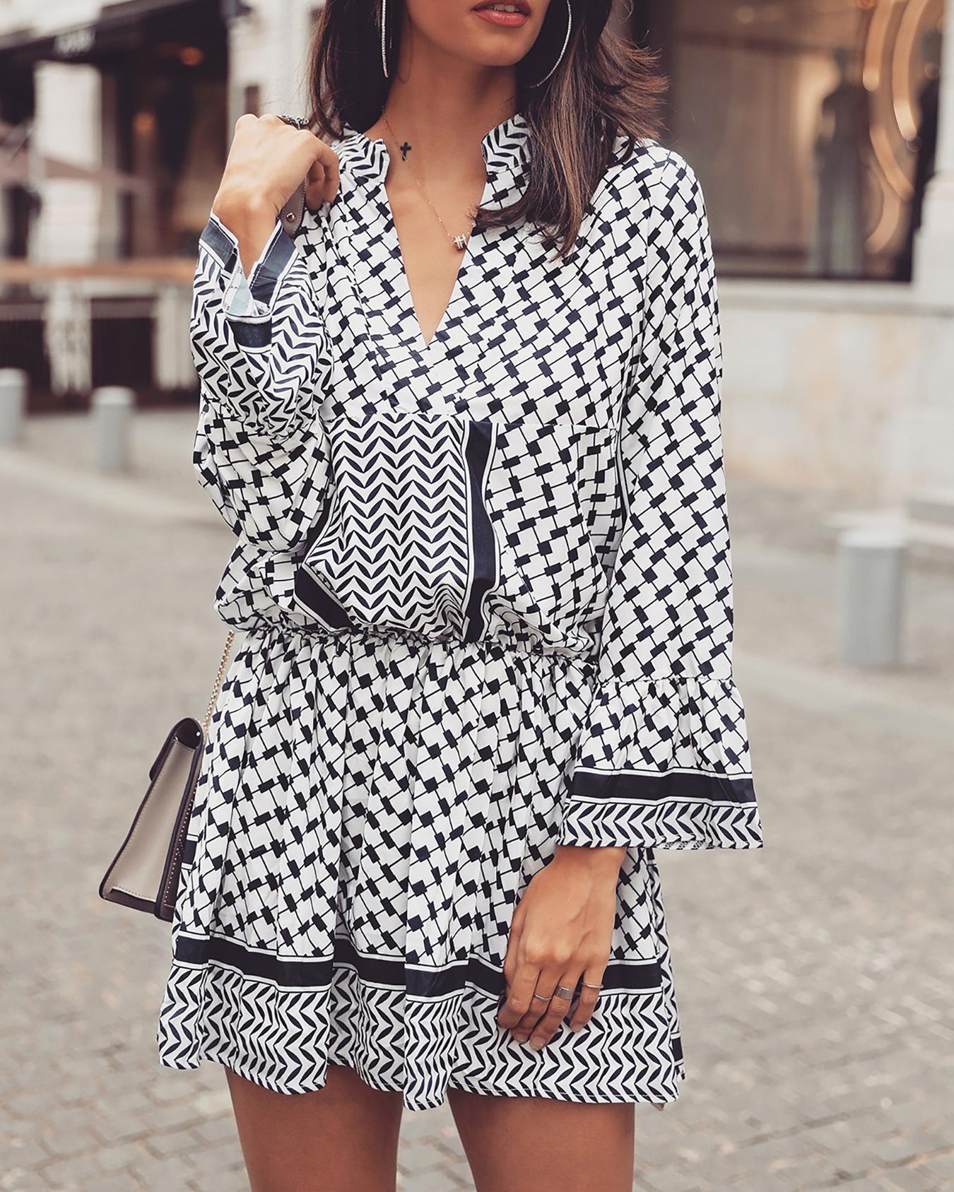 Ethnic Print Long Sleeve Elastic Waist Casual Dress