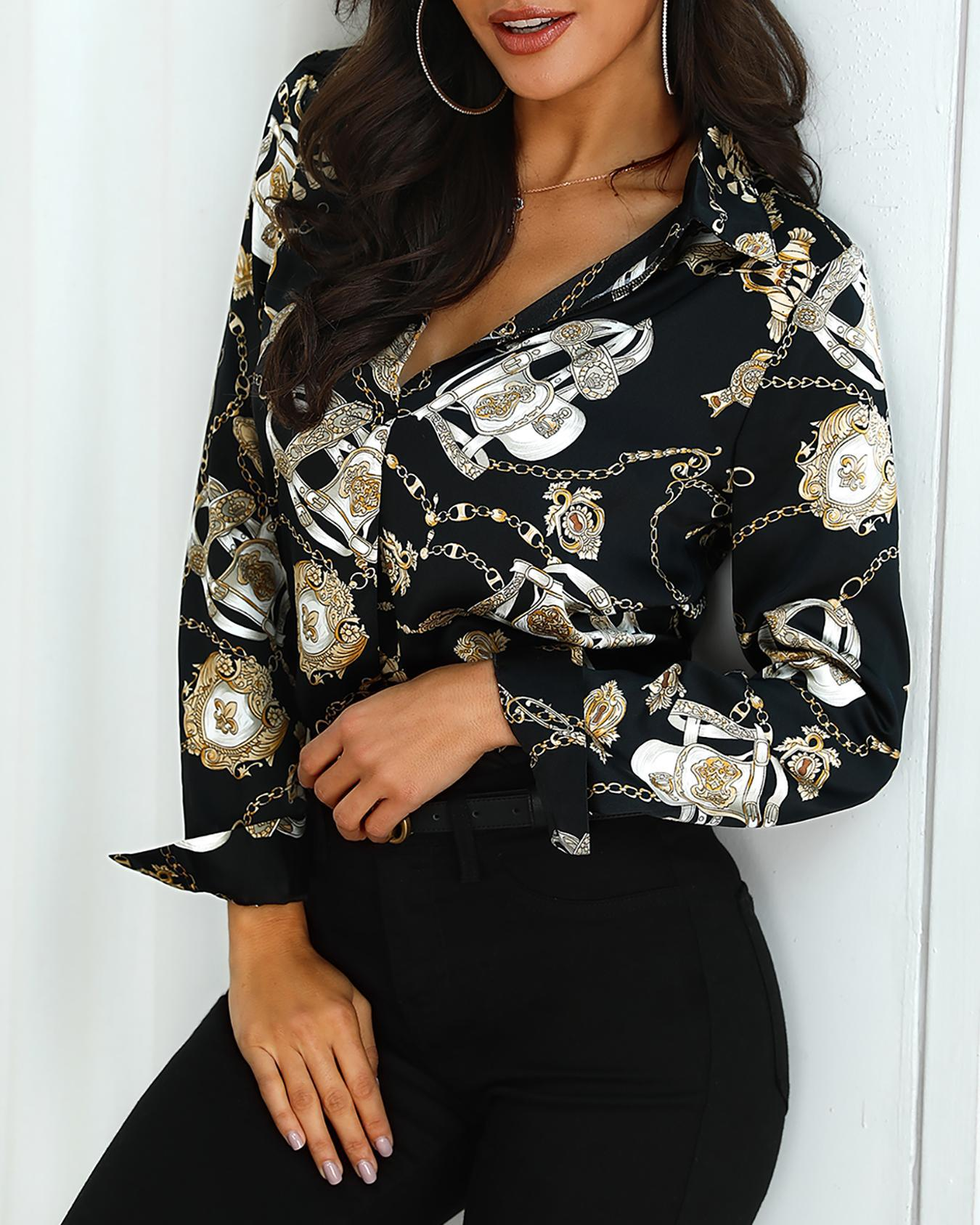 Long Sleeve Scarf Print Casual Shirt