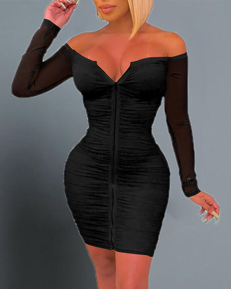 chicme / Off Shoulder Ruched Bodycon Dress
