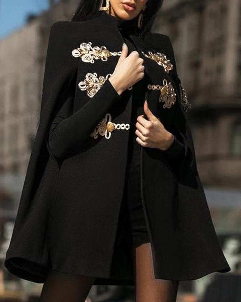 Embroidery Buttoned Design Cape Longline Coat, Black